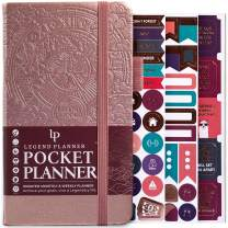 """Legend Planner Pocket - Small Monthly & Weekly Goal Journal and Calendar for Productivity, Mini Life Organizer Planner Perfect for Purse, Size: 3.5"""" x 6.2"""" Hardcover, Undated - Rose Gold"""