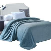 """Exclusivo Mezcla Twin Size Waffle Flannel Fleece Velvet Plush Bed Blanket as Bedspread/Coverlet/Bed Cover (90"""" x 66"""", Slate Blue) - Soft, Lightweight, Warm and Cozy"""