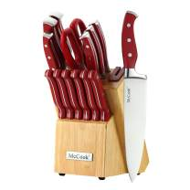 McCook MC24 14 Pieces High Carbon Stainless Steel Kitchen Knife Set with Wooden Block, All-purpose Kitchen Scissors and Built-in Sharpener(Red)