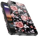 ZTE Blade Vantage Case,ZTE Tempo X Case,ZTE Avid 4 Case, Miss Arts Slim Anti-Scratch Protective Kit with [Drop Protection] Dual Layer Hybrid Cover Case for ZTE N9137 -Rose Gold Flower/Black