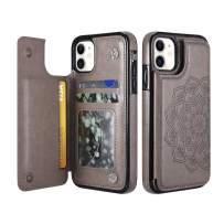 """UEEBAI Case for iPhone 11 Pro Max 6.5"""", Luxury PU Leather Case [Two Magnetic Clasp] [Card Slots] Stand Function Embossed Mandala Pattern Half Flower Durable Soft TPU Back Wallet Cover - Grey#2"""