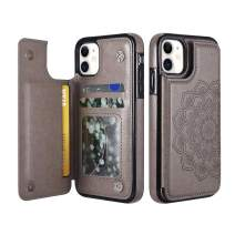 "UEEBAI Case for iPhone 11 Pro Max 6.5"", Luxury PU Leather Case [Two Magnetic Clasp] [Card Slots] Stand Function Embossed Mandala Pattern Half Flower Durable Soft TPU Back Wallet Cover - Grey#2"