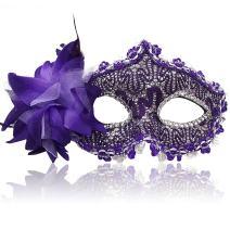FaceWood Masquerade Mask Mardi Gras Mask for Women Handmade Venetian Party Prom Ball