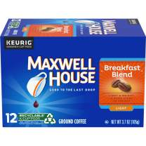 Maxwell House Breakfast Blend Light Roast K-Cup Coffee Pods (72 Pods, 6 Packs of 12)