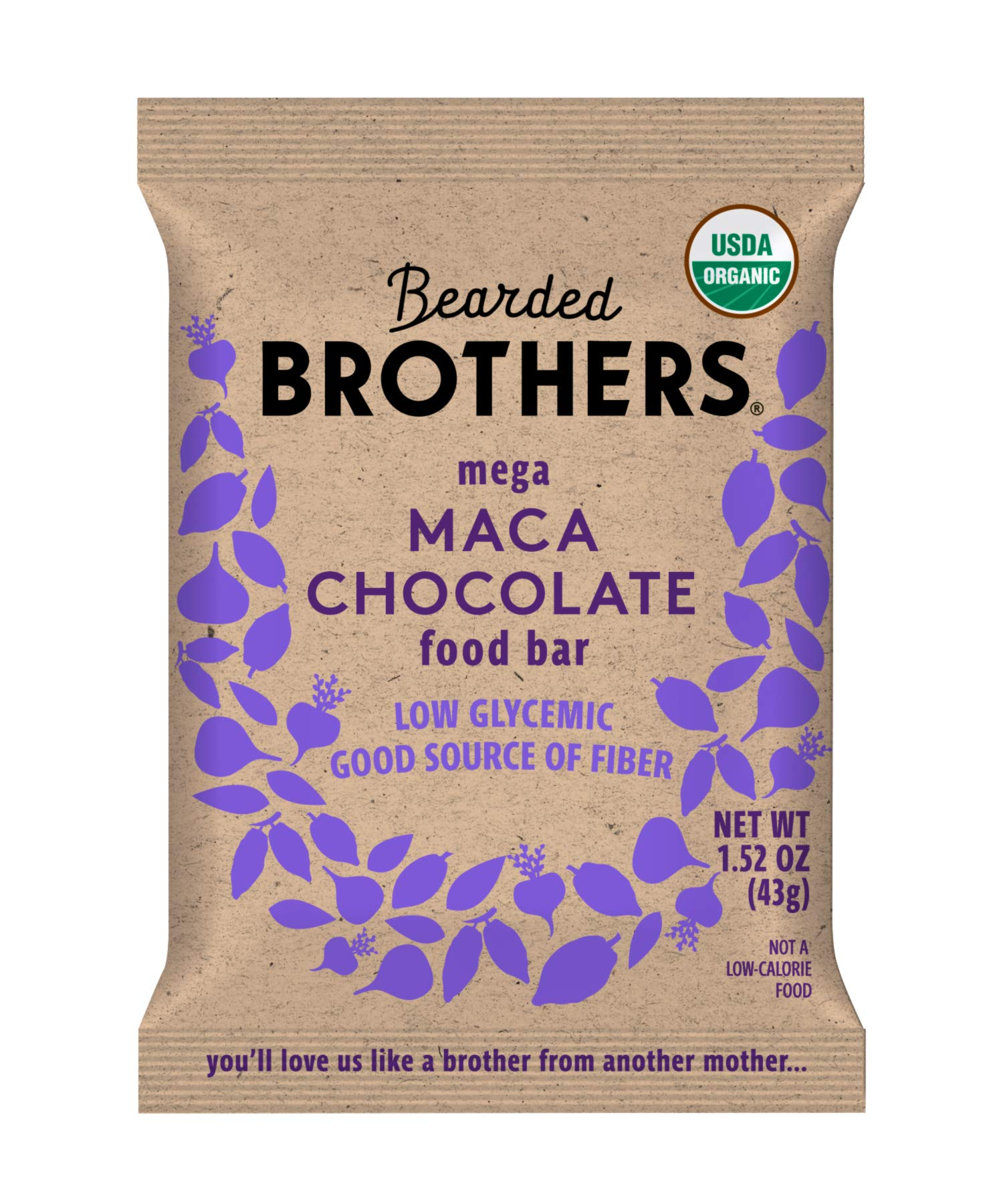 Bearded Brothers Vegan Organic Energy Bar   Gluten Free, Paleo and Whole 30   Soy Free, Non GMO, Low Glycemic, Packed with Protein, Fiber + Whole Foods   Maca Chocolate   12 Pack