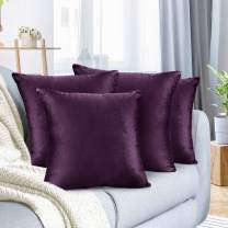"""Nestl Bedding Throw Pillow Cover 16"""" x 16"""" Soft Square Decorative Throw Pillow Covers Cozy Velvet Cushion Case for Sofa Couch Bedroom, Set of 4, Eggplant Purple"""