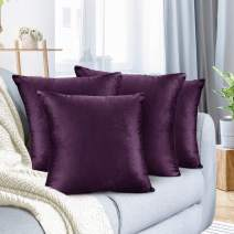 """Nestl Bedding Throw Pillow Cover 24"""" x 24"""" Soft Square Decorative Throw Pillow Covers Cozy Velvet Cushion Case for Sofa Couch Bedroom, Set of 4, Eggplant Purple"""