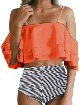 Womens Two Piece Off Shoulder Ruffled Flounce Bikini Top with Striped Bottom High Waisted Swimsuits Set