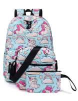 H HIKKER-LINK Unicorn School Backpack Set Laptop&Crossbody&Pencil Bag Light Blue