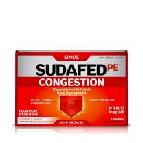 Sudafed PE Congestion and Sinus Pressure Relief Tablets, Non-Drowsy Maximum Strength Nasal Decongestant with Phenylephrine HCI, 18 ct (Pack of 2)