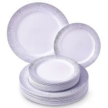 ELEGANT PLASTIC DINNERWARE 240 PC SET   120 Dinner Plates   120 Side Plates   Heavy Duty Plastic Plates   Fine China Look   for Upscale Wedding and Dining (Ocean Mist Collection–Silver)