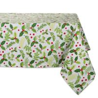 """DII 52x52"""" Square Cotton Tablecloth, Boughs of Holly - Perfect for Dinner Parties, Christmas, Holidays, or Everyday use"""
