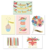 Gold Foil Bulk Birthday Cards Assortment – 48pc Bulk Happy Birthday Card with Envelopes Box Set – Assorted Blank Birthday Cards for Women, Men, and Kids in a Boxed Card Pack
