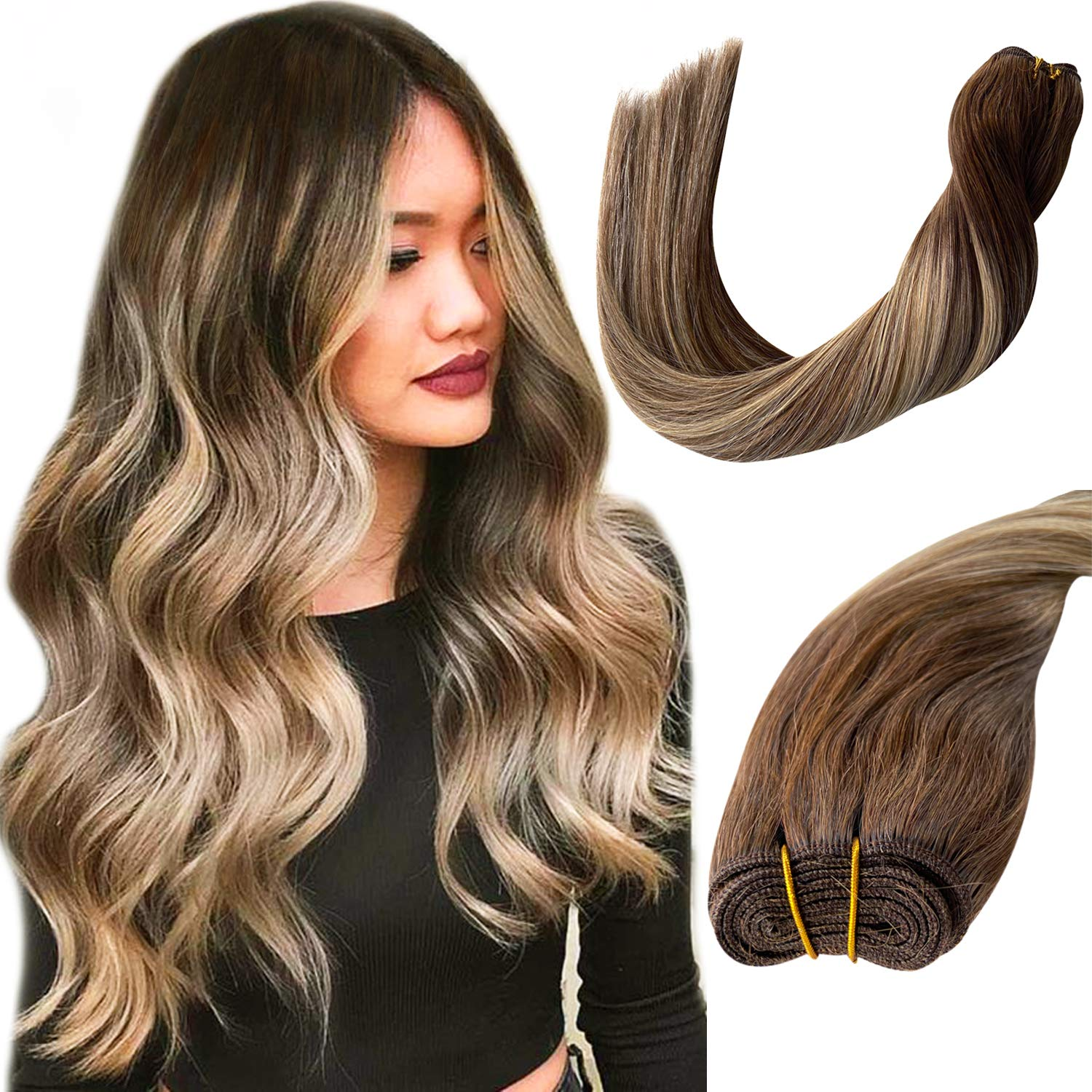 Ubetta Human Hair Bundles Sew in Hair Weft Extensions Chocolate Brown Roots to Brown with Honey Blonde Highlights Remy Human Hair Extensions Double Weft Real Weave Hair for Women 12 Inch 80 Gram
