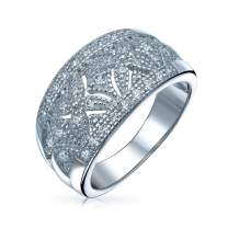 Vintage Style Micro Pave Cubic Zirconia CZ Hugs And Kisses Anniversary Wedding Band Ring For Women 925 Sterling Silver