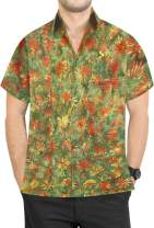 LA LEELA Men's Vacation Button Down Short Sleeve Hawaiian Shirt A