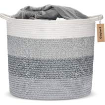 COSYLAND Large Woven Storage Basket 15.8 x 15.8 x 14.6 inches Cotton Rope Organizer Baby Laundry Baskets for Blanket Toys Towels Nursery Hamper Bin with Handle