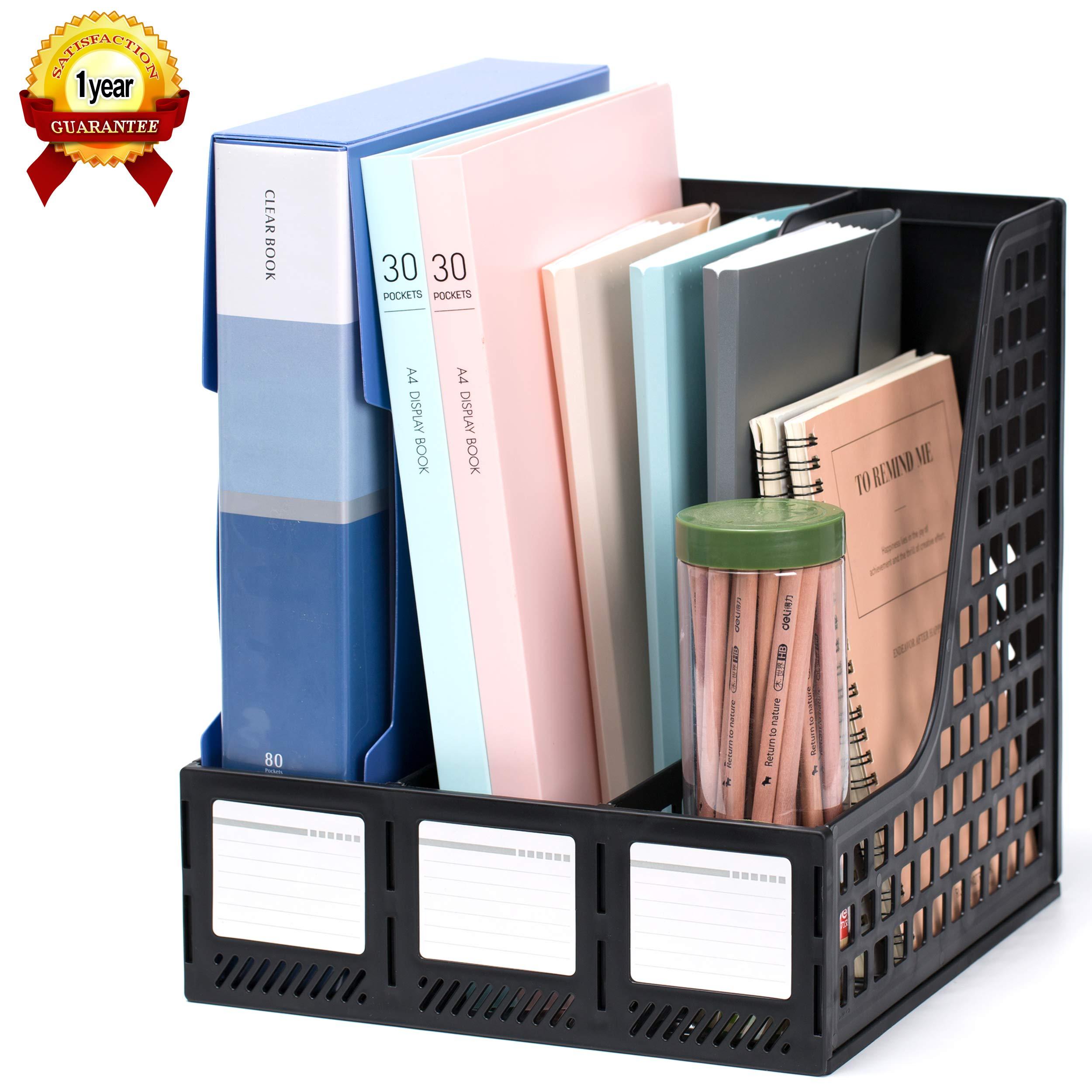 Leven Sturdy Magazine File Holder Desk Organizer File Folder for Office Organization and Storage with 3 Vertical Compartments, File-Storage-Organizer-Magazine-Holder