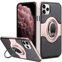 ELOVEN Case for iPhone 11 Pro Max Case with Ring Holder 360 Degree Rotation Stand Work with Car Mount Slim Fit Shockproof Non-Slip Hybrid Dual Layer Protective Case for iPhone 11 Pro Max, Rose Gold