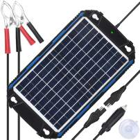 SUNER POWER Waterproof 12V Solar Battery Charger & Maintainer Pro - Built-in Intelligent MPPT Charge Controller - 10W Solar Panel Trickle Charging Kit for Car, Marine, Motorcycle, RV, etc
