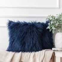 Ashler Pack of 2 Decorative Luxury Style Navy Blue Faux Fur Throw Pillow Case Cushion Cover 20 x 20 Inches 50 x 50 cm