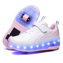 HHSTS Kids Shoes with Wheels LED Light Color Shoes Shiny Roller Skates Skate Shoes Simple Kids Gifts Boys Girls The Best Gift for Party Birthday Christmas Day