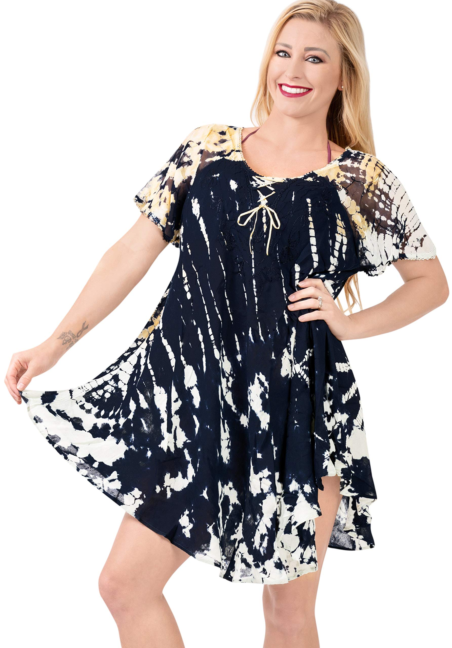 LA LEELA Women Summer Casual Swing T-Shirt Dresses Beach Cover up Hand Tie Dye A
