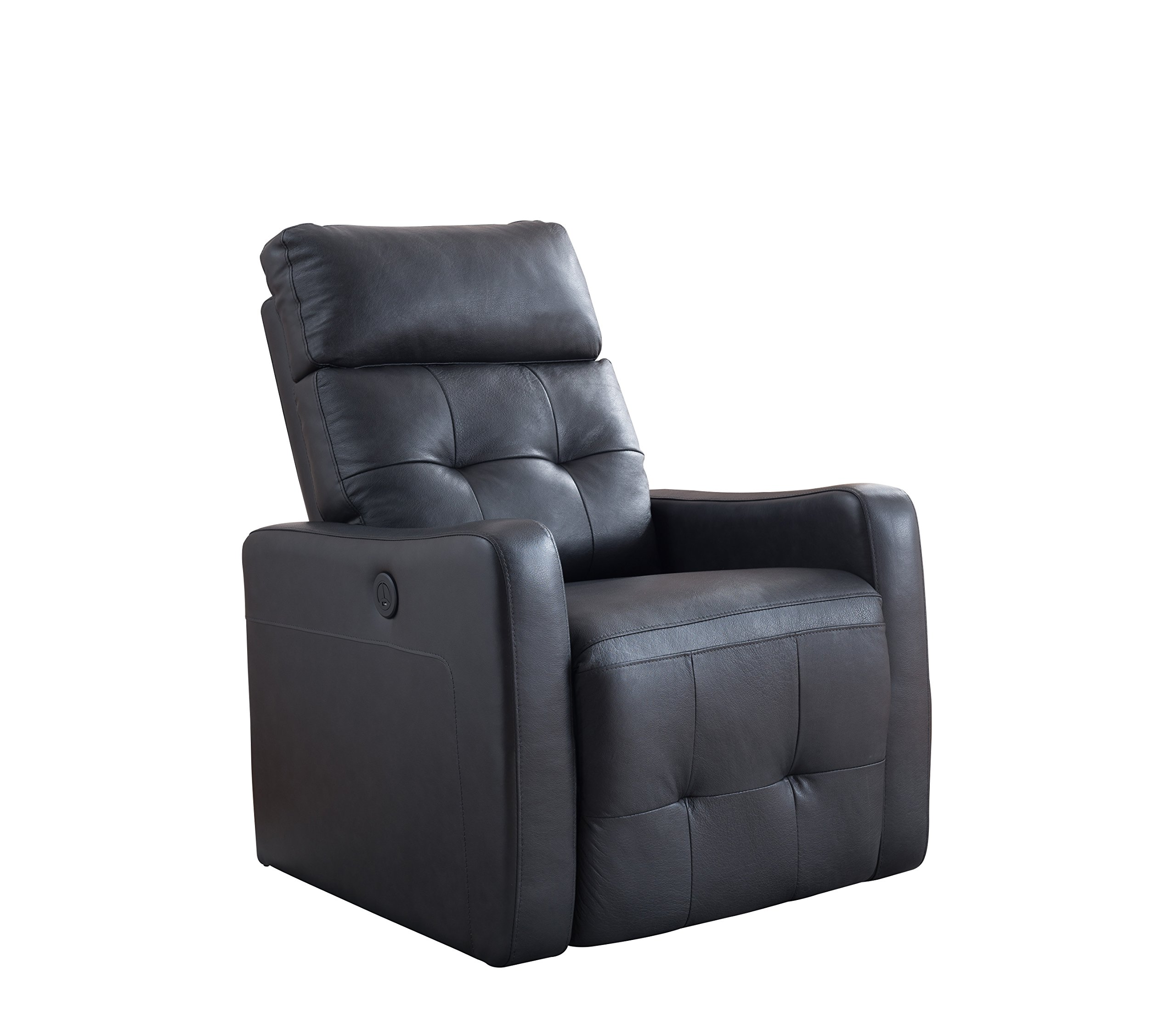 AC Pacific Elsa Collection Contemporary Leather Upholstered Electric Recliner Chair With Adjustable Headrest, Low Arms, Black