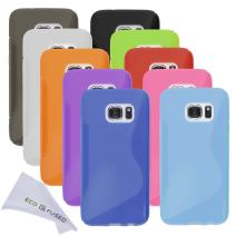 Eco-Fused Case Bundle Compatible with Samsung Galaxy S7 Including 10 Flexible TPU Covers with S Line Design - Slim Fit - Protection from Scratches - Microfiber Cleaning Cloth Included