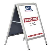 M&T Displays 24×36 Slide-in A Frame Poster Display Advertising Board, Double -Sided Sidewalk Sign, Silver