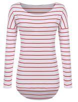 POGTMM Long Sleeve Striped T Shirt Tunic Tops for Leggings for Women