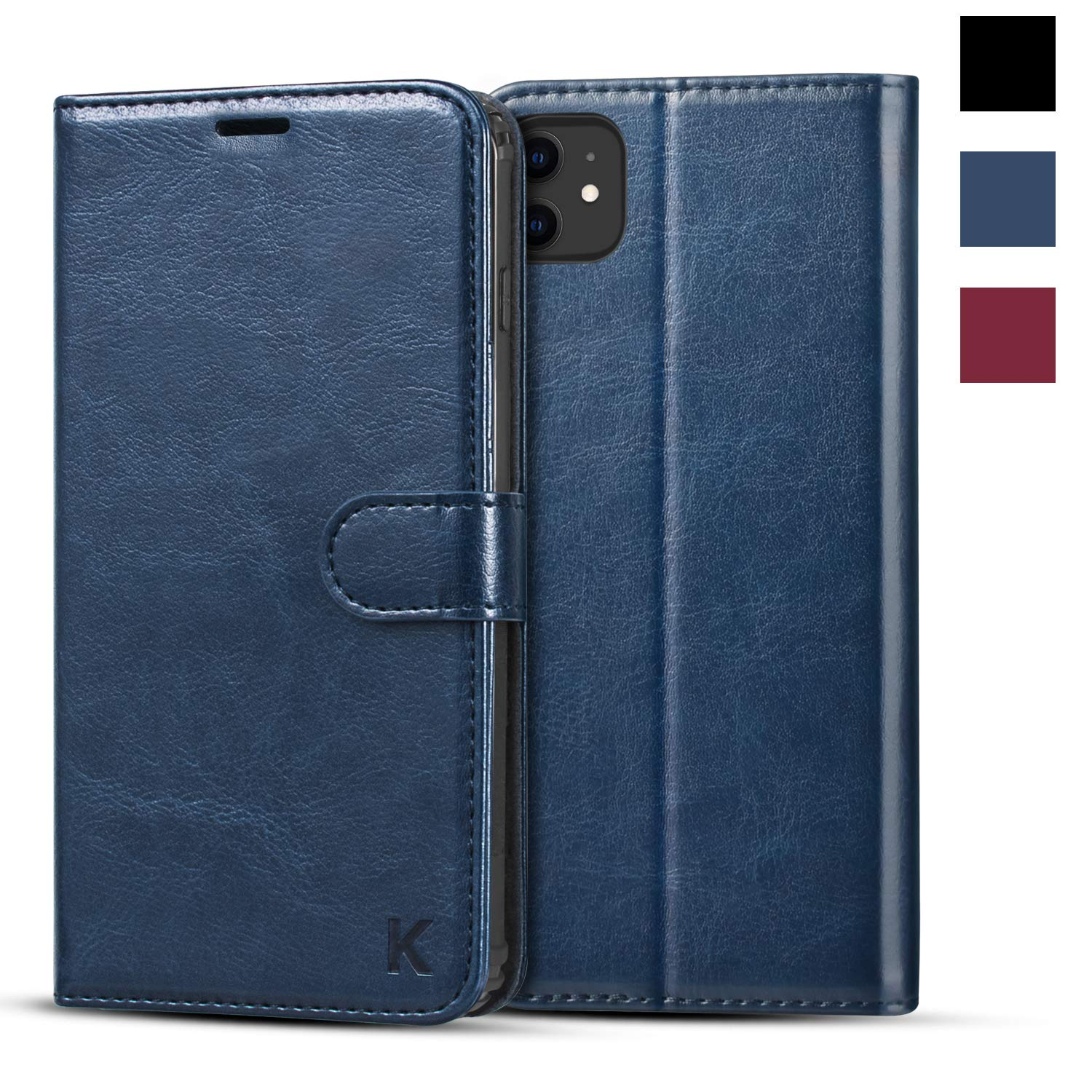KILINO iPhone 11 Wallet Case [Premium Leather] [Soft TPU] [RFID Blocking] [Shock-Absorbent Bumper] [Card Slots] [Kickstand] [Magnetic Closure] Flip Folio Cover for iPhone 11 - Blue