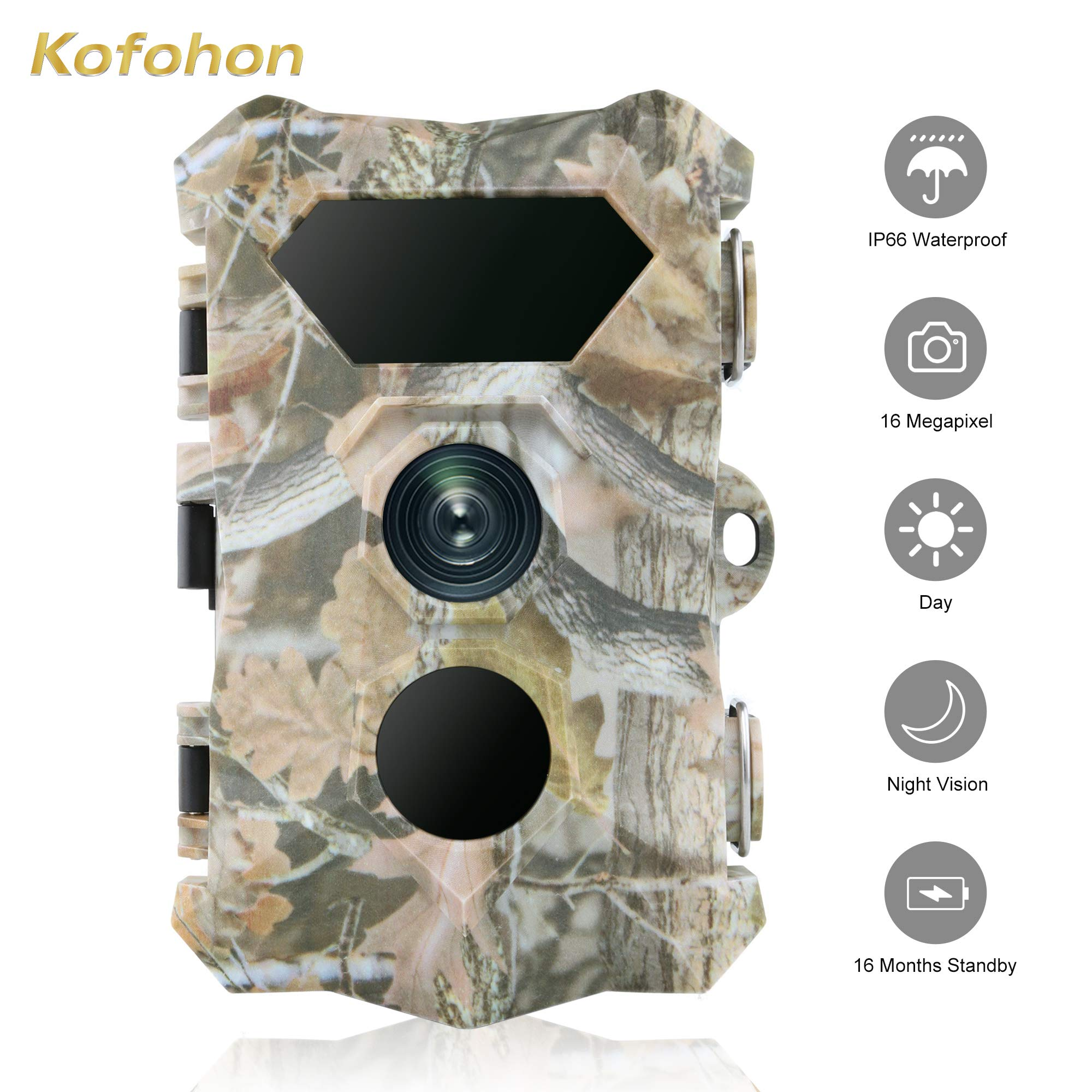 Trailcam-Hunting Wildlife Animal Trail Game Camera/Nature Deer Cams with Night Vision Motion Activated IP66 Waterproof 16MP/1080P Full HD Outdoor Home Security No/Low Flash Infrared 0.2s Trigger Time