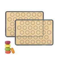 Macaron Silicone Baking Mats Non-Stick Large Baking Mat Extra Thick Reusable Bakeware for Making Cookies baking mats for oven 16.5X11.6in Set of 2 Grey