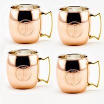 Old Dutch International Solid Moscow Mule Mug, 16-Ounce, Monogrammed J, Copper, Set of 4