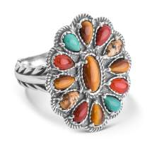 American West Sterling Silver Tiger Eye, Jasper and Carnelian Gemstone Cluster Design Ring Size 5 to 10