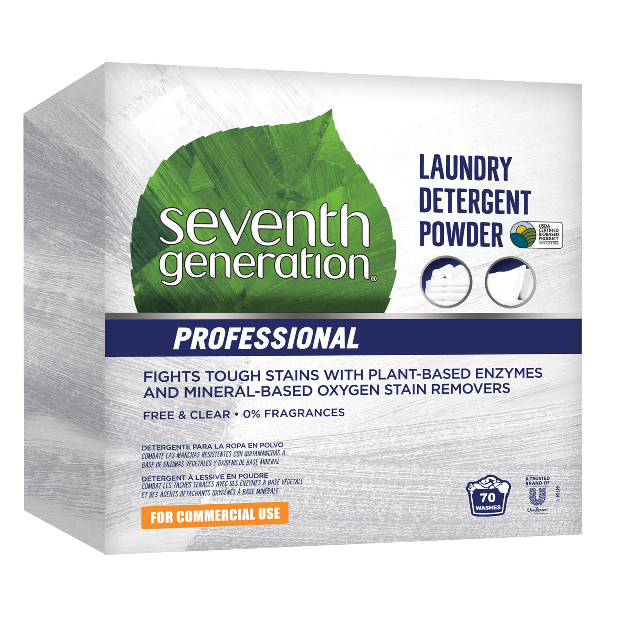 Seventh Generation Professional Laundry Detergent Powder, Free & Clear, Unscented, 112 oz (Pack of 4)