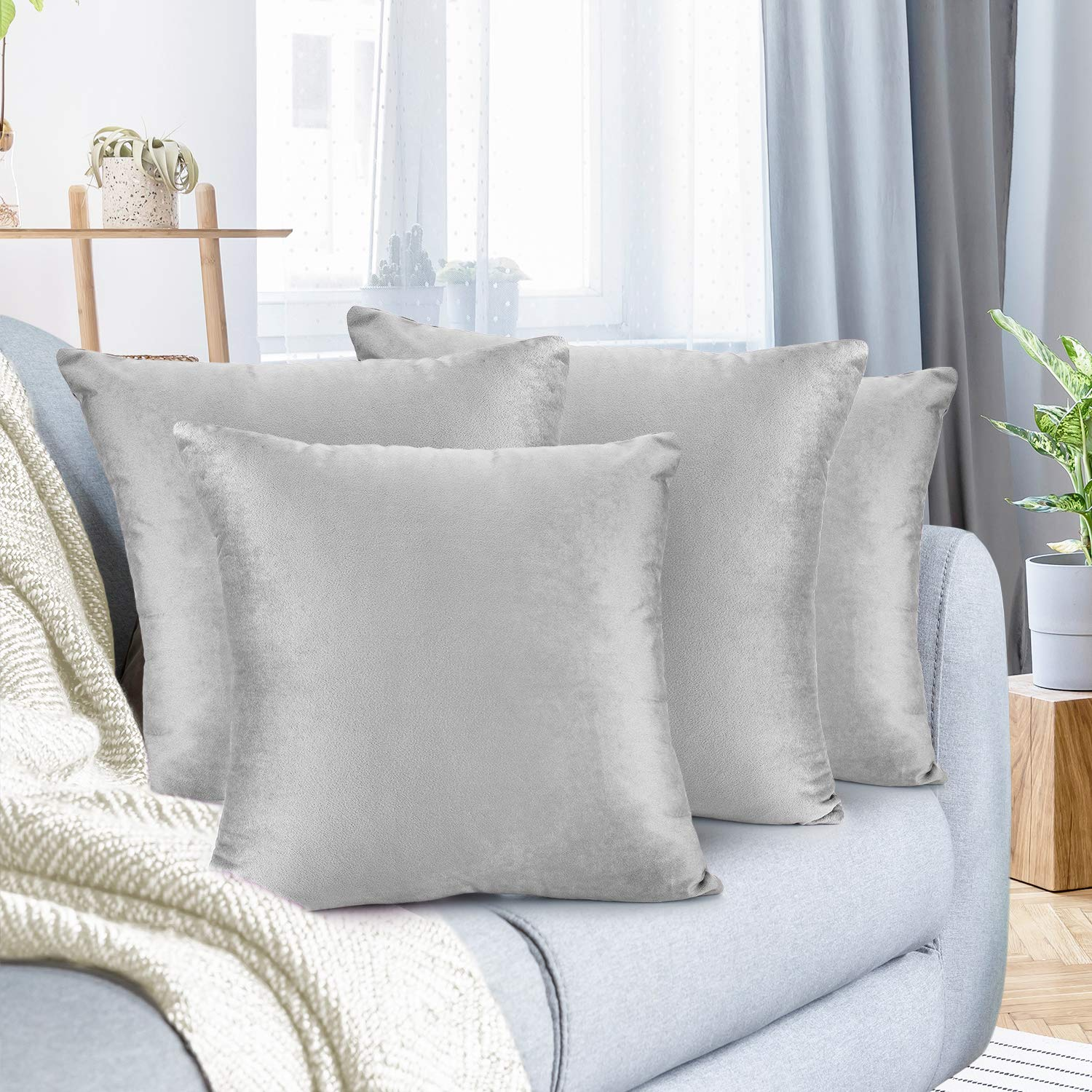 """Nestl Bedding Throw Pillow Cover 20"""" x 20"""" Soft Square Decorative Throw Pillow Covers Cozy Velvet Cushion Case for Sofa Couch Bedroom, Set of 4, Light Gray"""