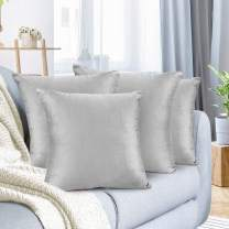"""Nestl Bedding Throw Pillow Cover 26"""" x 26"""" Soft Square Decorative Throw Pillow Covers Cozy Velvet Cushion Case for Sofa Couch Bedroom, Set of 4, Light Gray"""