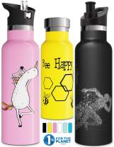 Double Walled Vacuum Insulated Water Bottle with Straw Lid & Sports Cap, Simple Kids Stainless Steel Thermo Flask, Metal BPA Free Eco Friendly Non Sweat Modern Finish Hydro Mug 12oz 17oz 20oz 25oz