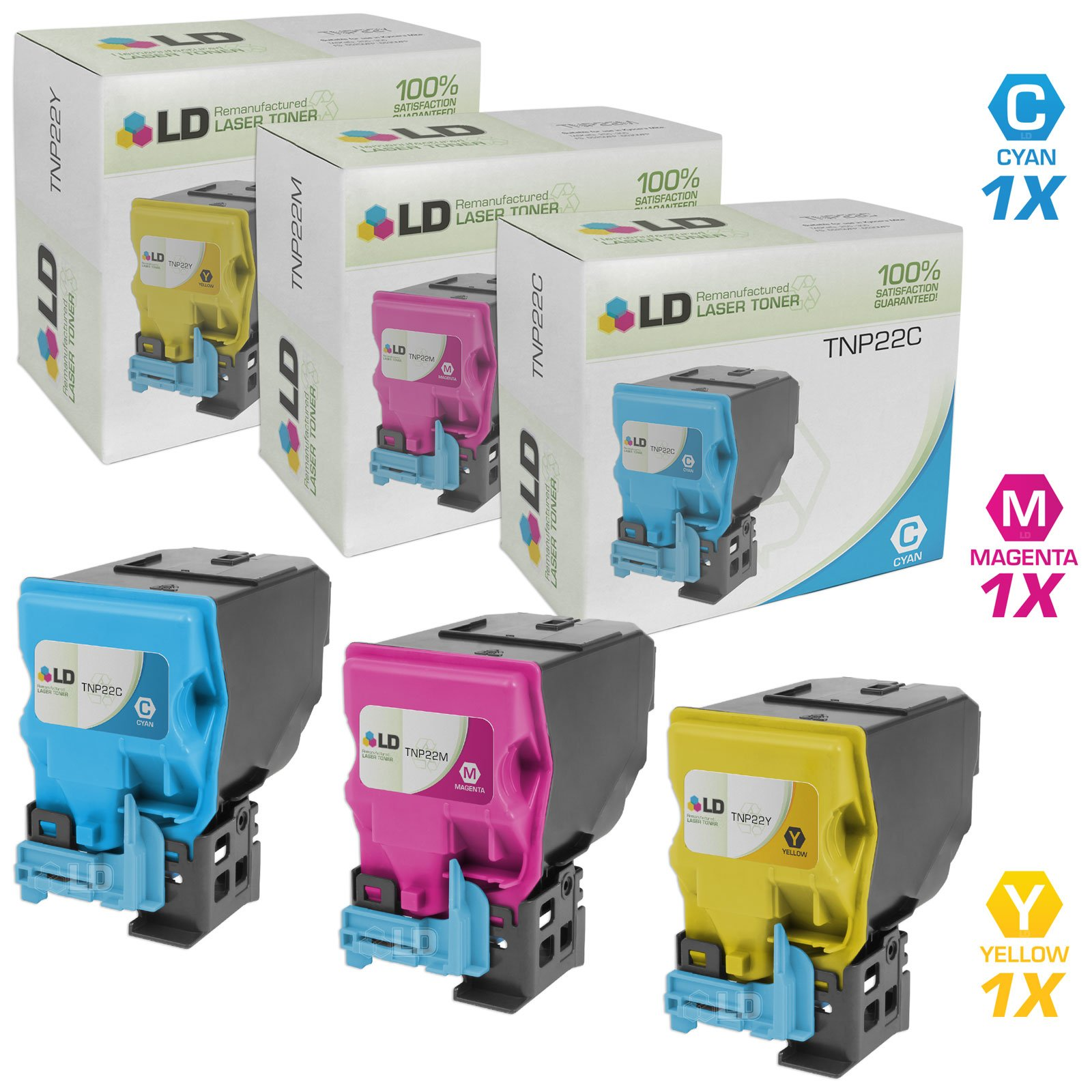 LD Remanufactured Toner Cartridge Replacement for Konica Minolta TNP22 C35 Series (Cyan, Magenta, Yellow, 3-Pack)