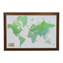Personalized Enchanting Emerald Watercolor World Travel Map with Brown Frame