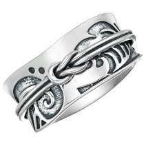 Energy Stone 925 Sterling Silver Tsunami Art Japanese Arts Inspired Meditation Spinner Ring (Style US52)