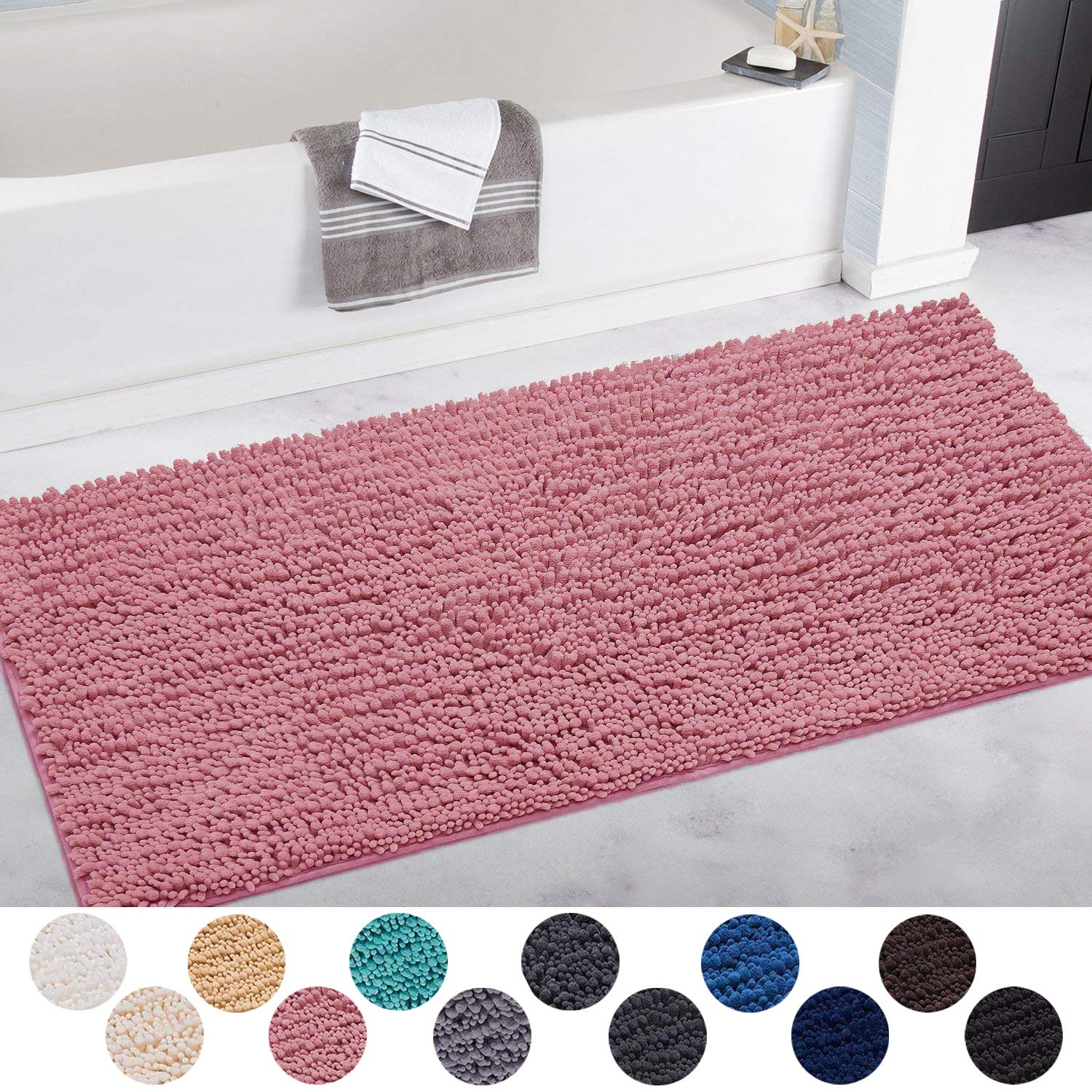 DEARTOWN Non-Slip Shaggy Bathroom Rug(31x59 Inches,Pink),Soft Microfibers Chenille Bath Mat with Water Absorbent, Machine Washable