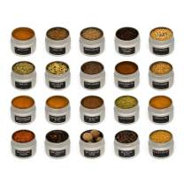 Foodly 20-tin Set of Spices, Herbs, Seasonings, Chili Powders, and Salts   Gourmet Flavors in Premium Metal Tins (Baking)