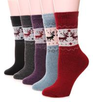Womens Wool Socks Thick Heavy Thermal Winter Warm Fuzzy Cute Crew Socks For Cold Weather 5 Pack