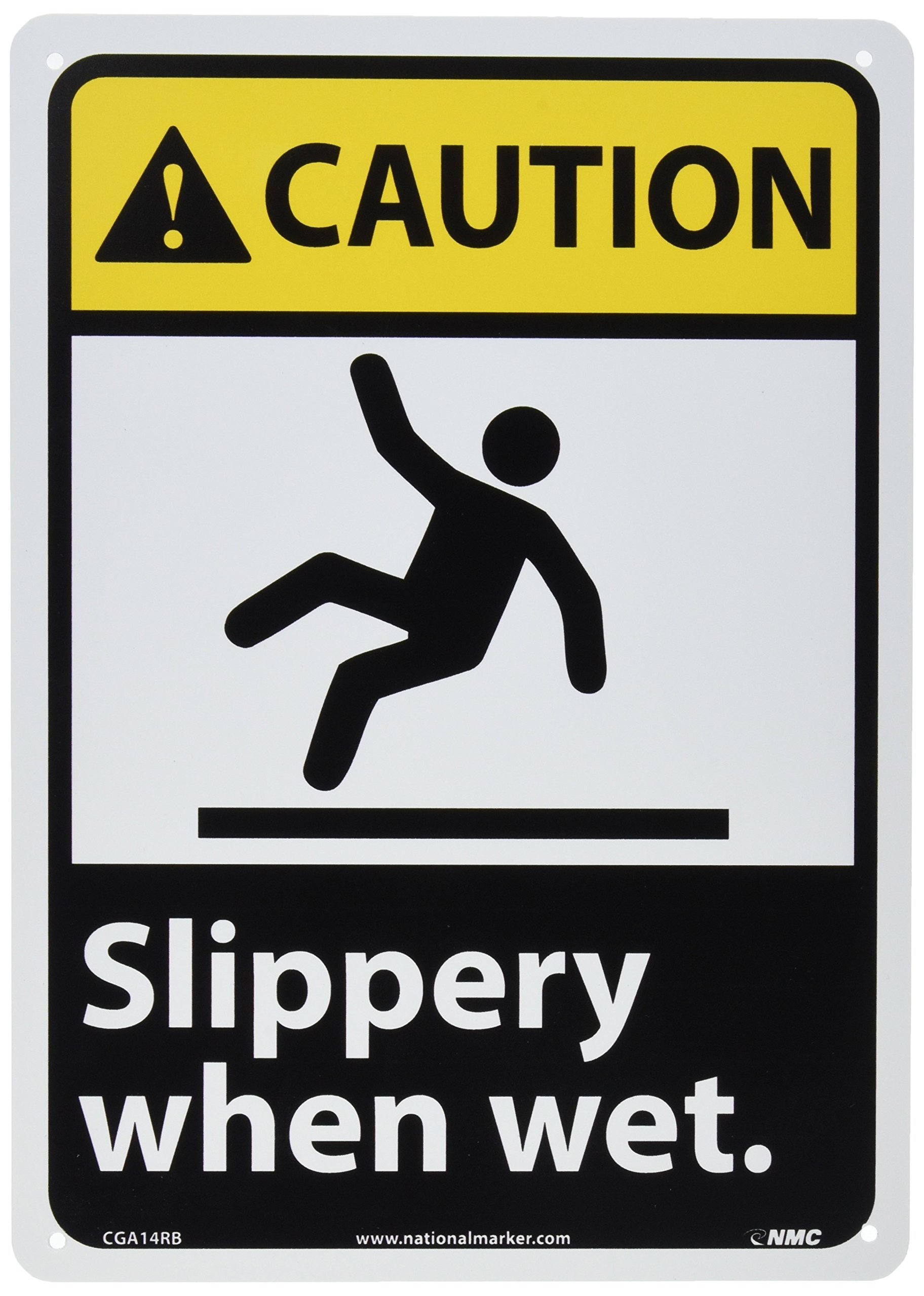 NMC CGA14RB Caution - Slippery when wet. – 10 in. x 14 in. Rigid Plastic Caution Signage with Graphic, Black/White Text on Yellow/Black Base