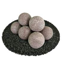 Ceramic Fire Balls | Set of 8 | Modern Accessory for Indoor and Outdoor Fire Pits or Fireplaces – Brushed Concrete Look | Adobe Red, Speckled, 5 Inch