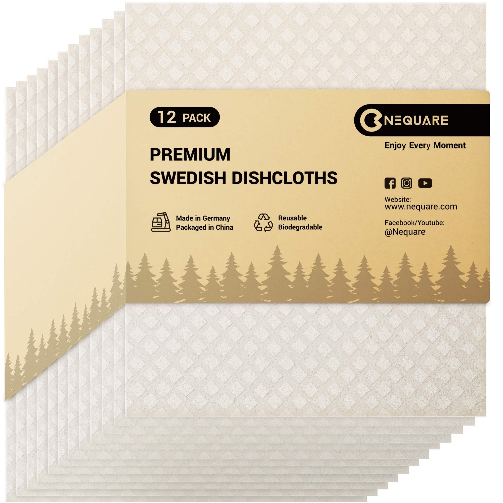 NEQUARE Swedish Dishcloths for Kitchen, Sponge Cloths Kitchen Towels,12 Pack Swedish Dish Cloths Reusable Premium Material for Dish Cleaning, White