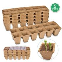 Seed Starter Peat Pots Kit for Garden Seedling Tray ANGTUO 100% Eco-Friendly Organic Germination Seedling Trays Biodegradable 5 Pack - 60 Cells 12 Plastic Plant Markers Included